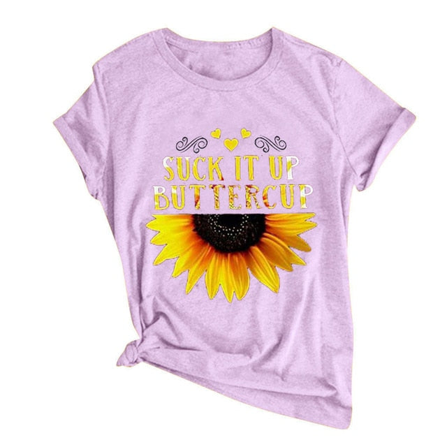 Sunflower Short Sleeves O-Neck Loose T-Shirt
