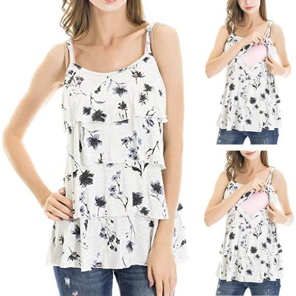 Sleeveless Floral Breastfeeding Nursing Tops-Sunshine's Boutique & Gifts