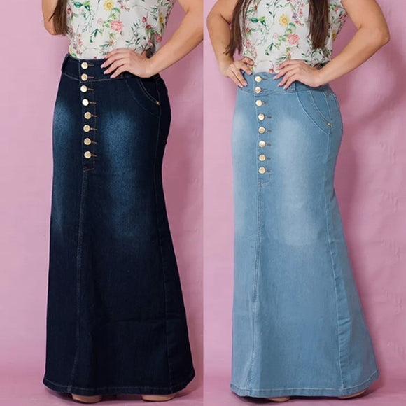 Front Button Washed Denim A-Line Skirts