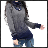 Women Black Blue Vintage Cashmere Sweater