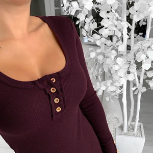Sexy V-Neck Long Sleeve Button T-Shirt