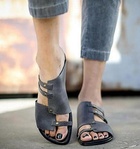 Flat-Bottomed Roman metal Leather Slipper-Sunshine's Boutique & Gifts
