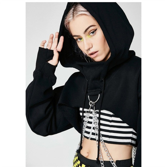 Women Tracksuit Gothic Crop Top Hoodie With Stitching Chain-Sunshine's Boutique & Gifts