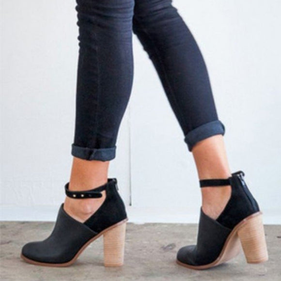 Buckle Thick Heel Shoes-Sunshine's Boutique & Gifts