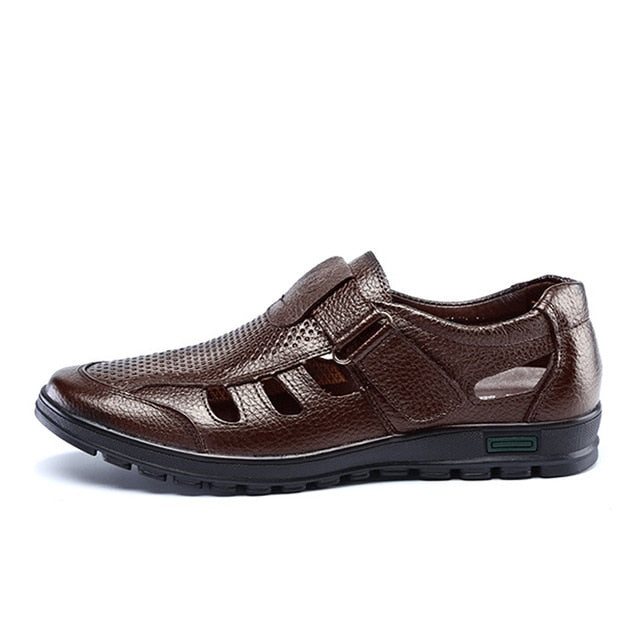 Men genuine leather sandals-Sunshine's Boutique & Gifts