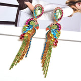 Bird-Shaped Rhinestone Metal Long Dangle Drop Earrings