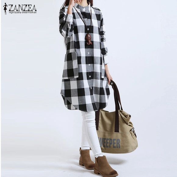 Women Long Sleeve Boyfriend Plaid Shirt-Sunshine's Boutique & Gifts