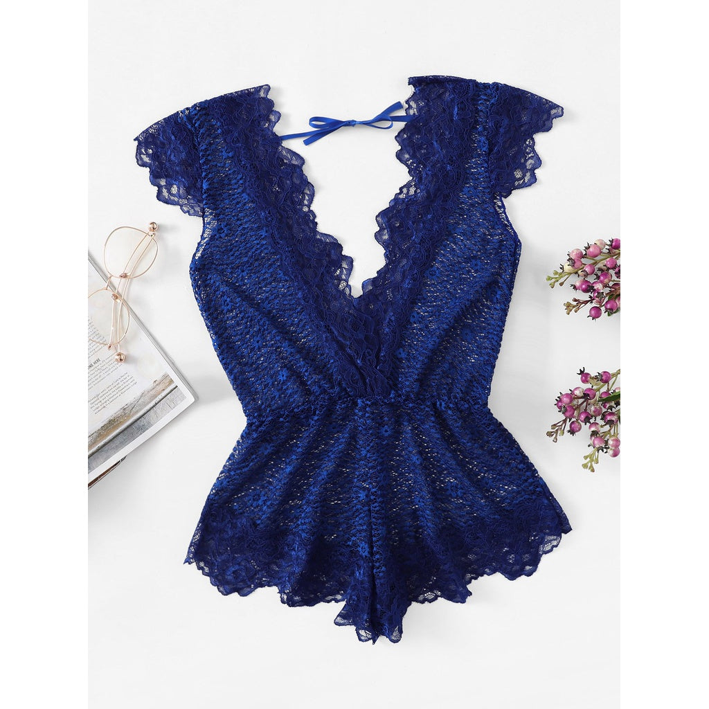 Plus V Plunge Lace Teddy-Sunshine's Boutique & Gifts