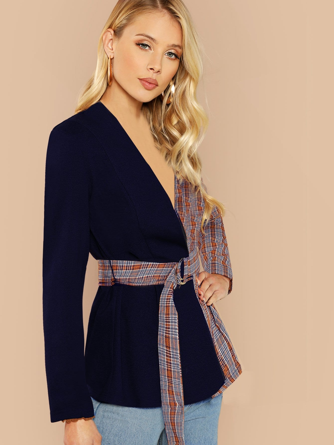 Two Tone Belted Coat-Sunshine's Boutique & Gifts