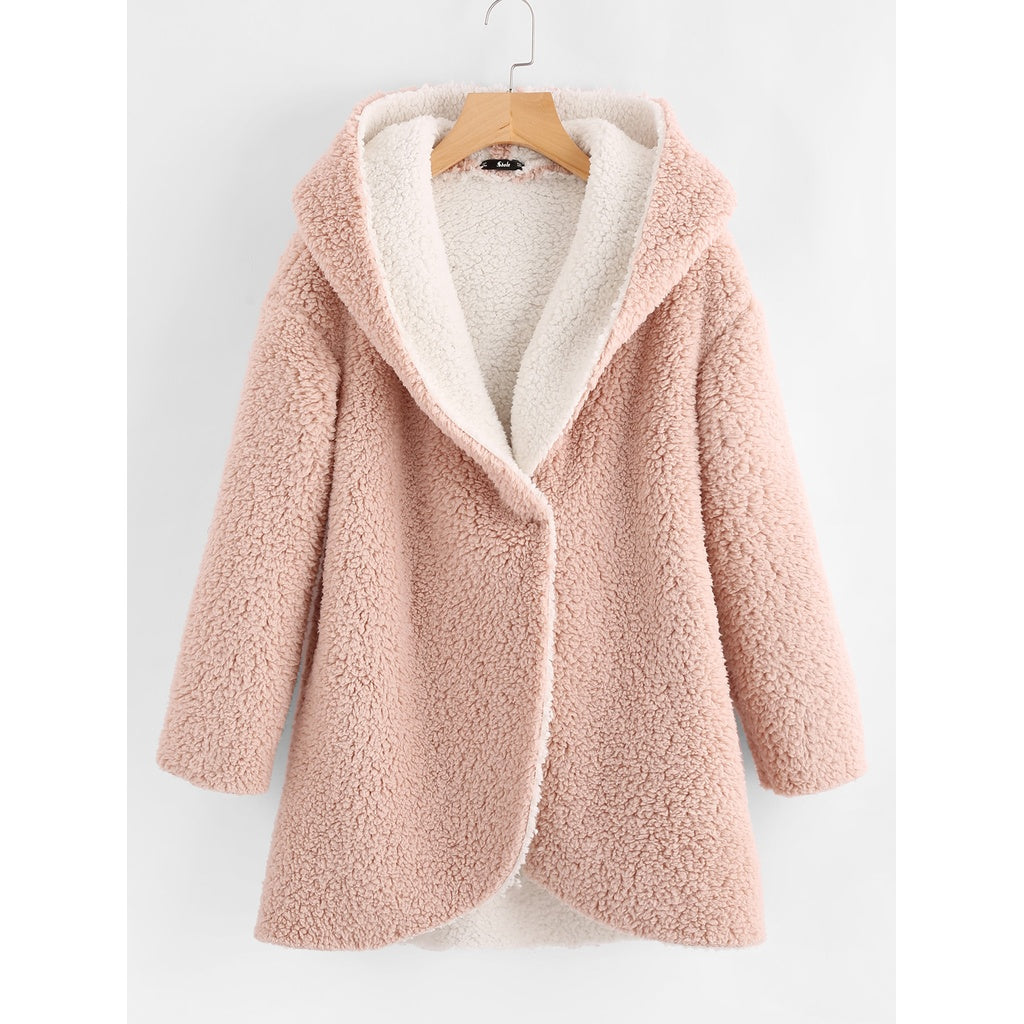Curved Hem Sherpa Fleece Hoodie Coat-Sunshine's Boutique & Gifts