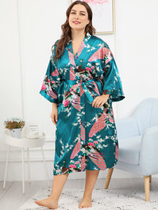 Plus Peacock & Floral Print Self Belted Robe-Sunshine's Boutique & Gifts