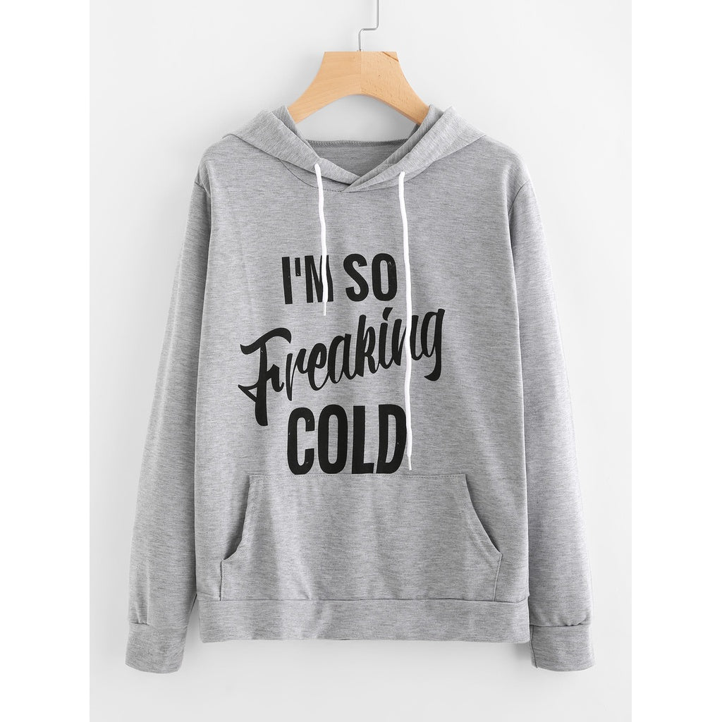 Slogan Print Hoodie-Sunshine's Boutique & Gifts
