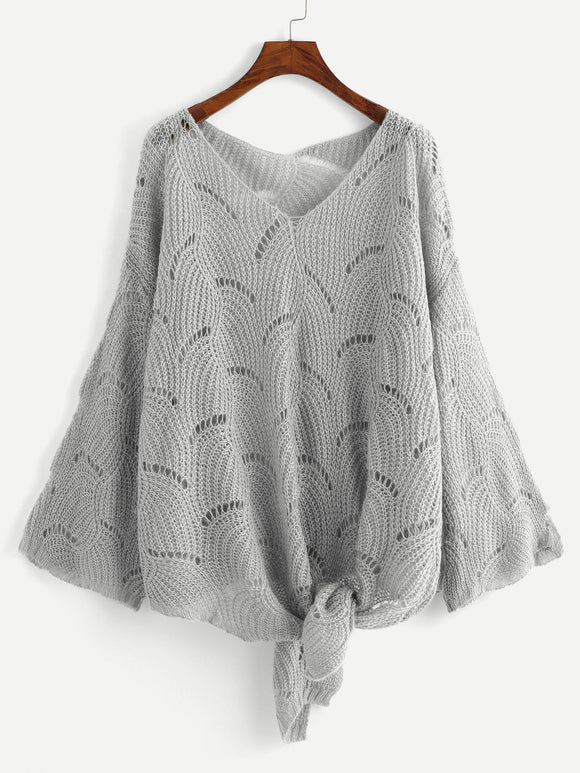 Plus Loose Knit Knot Sweater-Sunshine's Boutique & Gifts