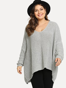 Plus Drop Shoulder Eyelet High Low Jumper-Sunshine's Boutique & Gifts