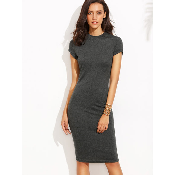 Heather Grey Crew Neck Sheath Dress-Sunshine's Boutique & Gifts