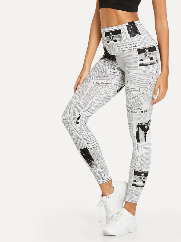 Newspaper Print Leggings-Sunshine's Boutique & Gifts