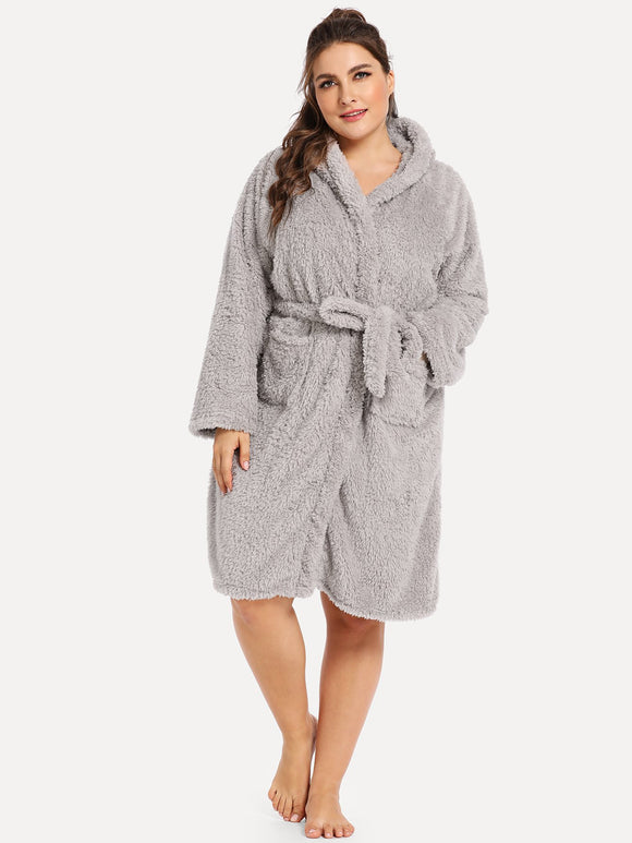 Plus Rabbit Self Belted Hooded Robe-Sunshine's Boutique & Gifts