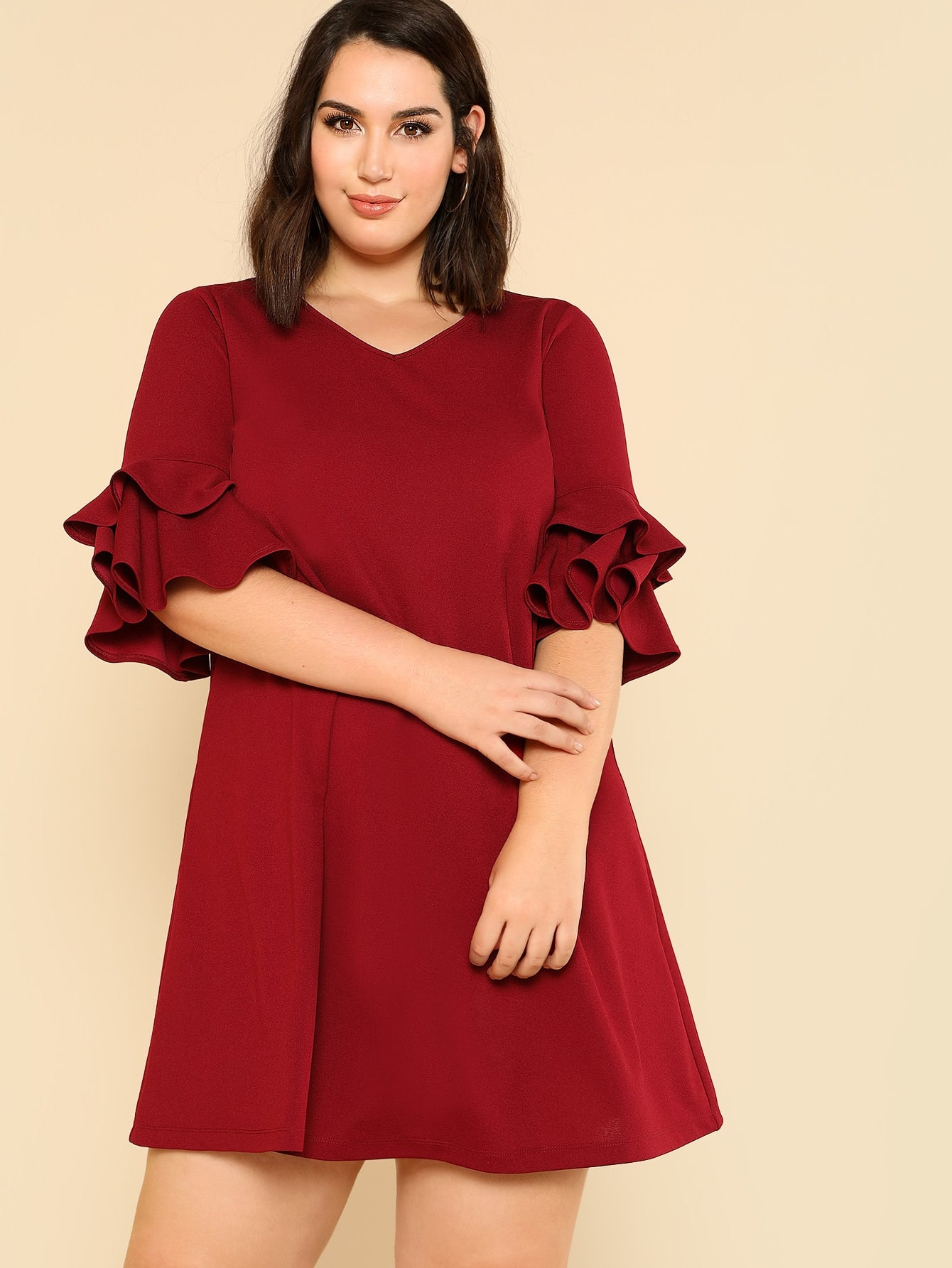 Plus Flounce Sleeve Solid Swing Dress-Sunshine's Boutique & Gifts