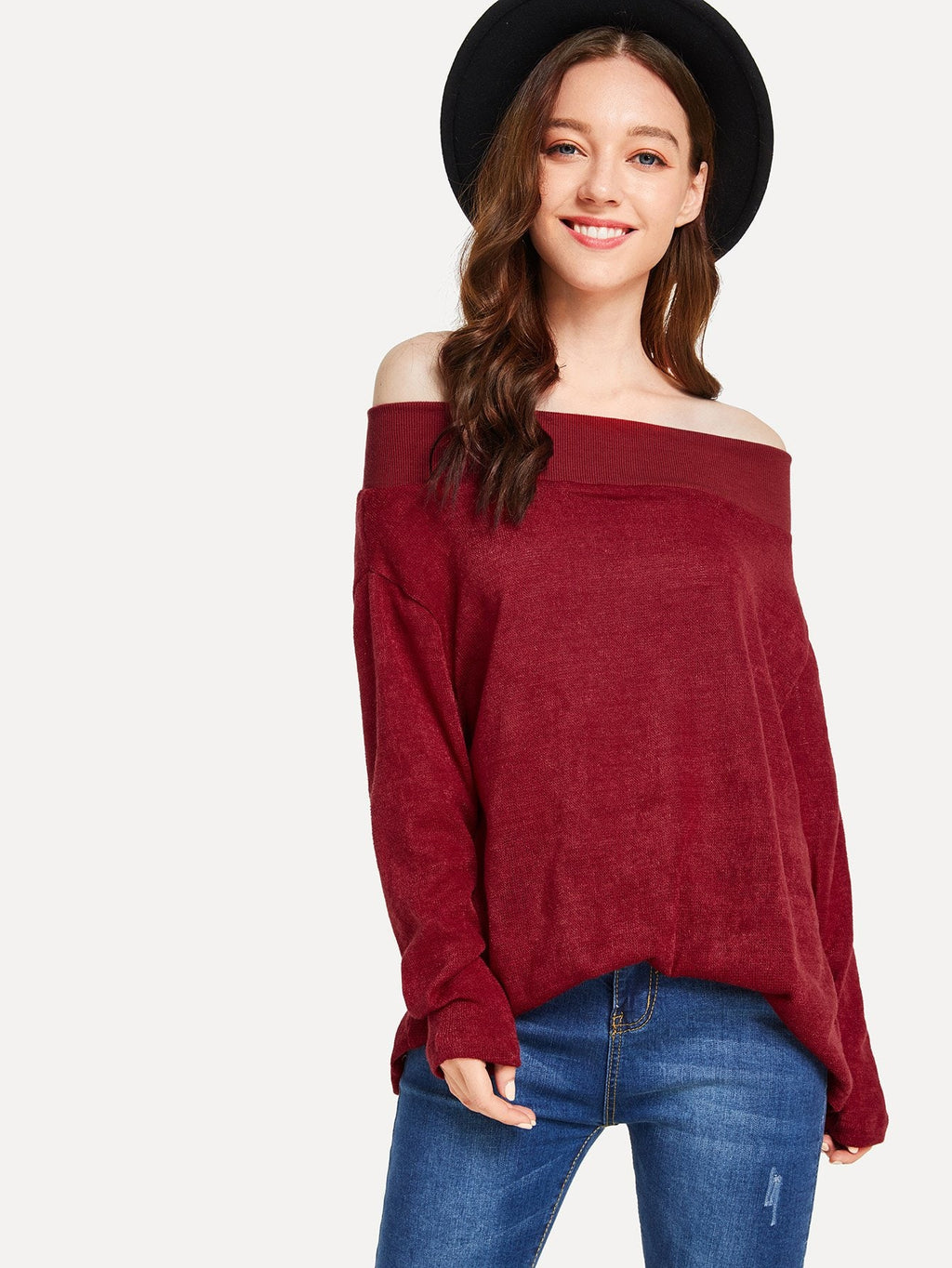 Off The Shoulder Solid Jumper-Sunshine's Boutique & Gifts