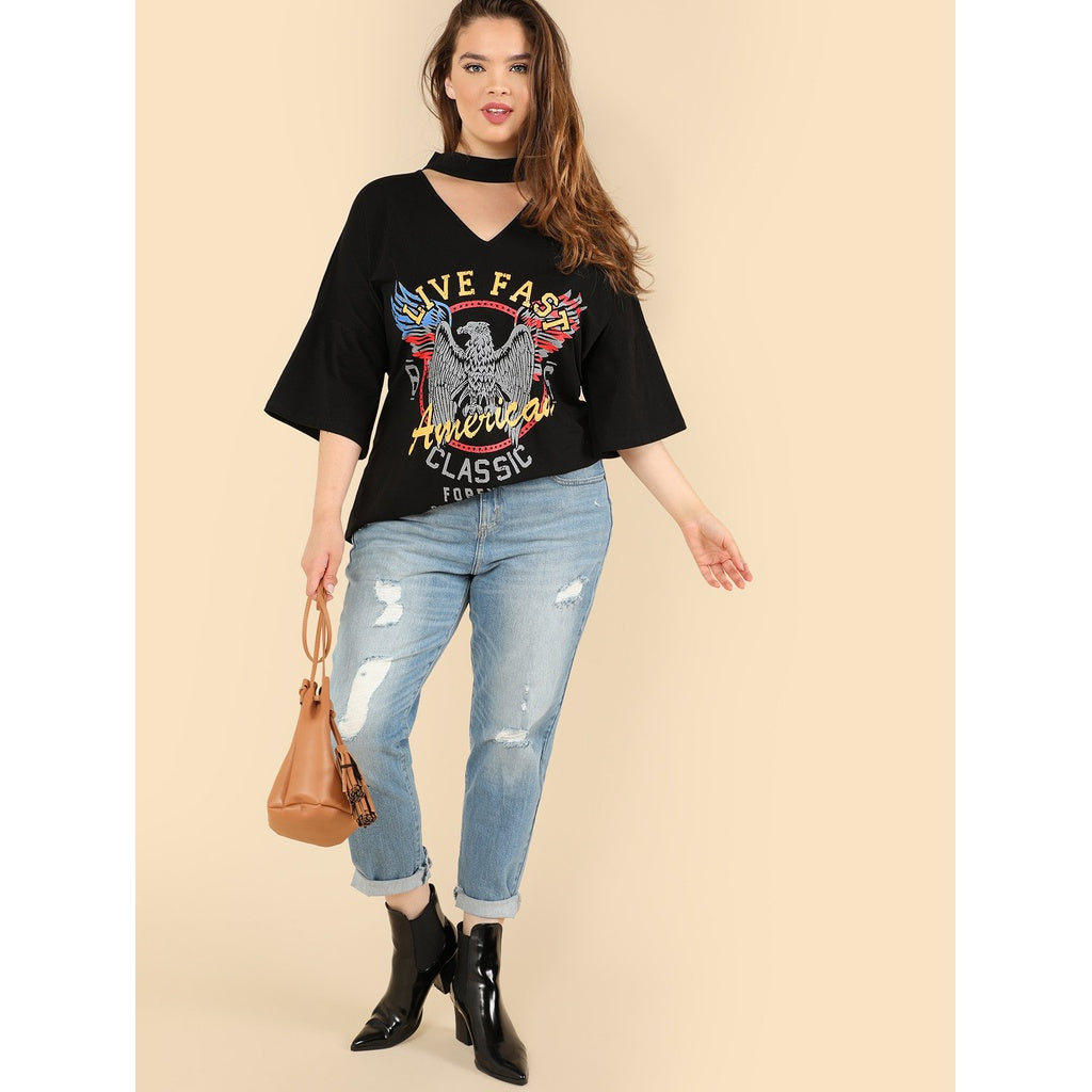 Plus Choker Neck Graphic Tee-Sunshine's Boutique & Gifts