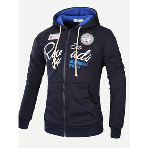 Men Letter Print Hooded Jacket-Sunshine's Boutique & Gifts
