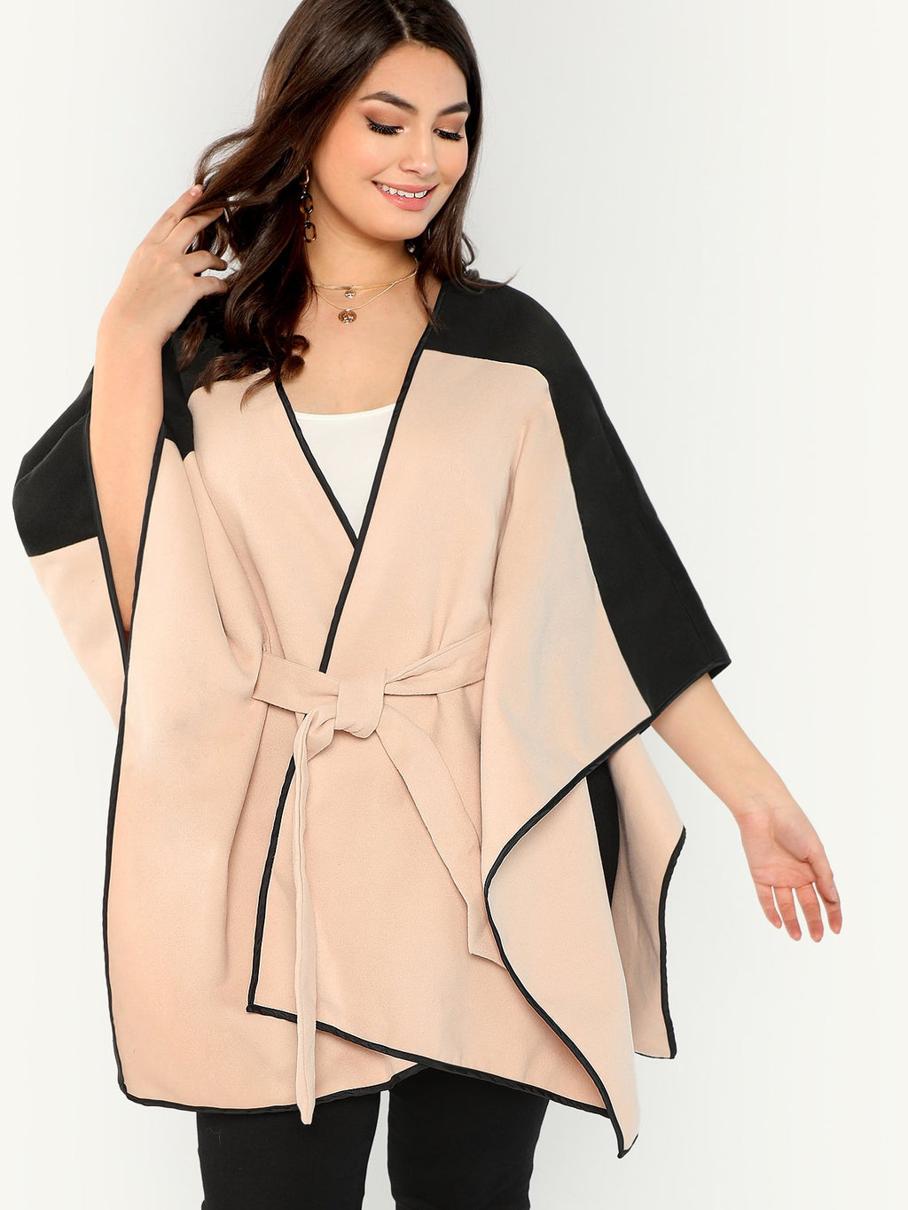 Plus Cut and Sew Self Belted Cape Coat-Sunshine's Boutique & Gifts