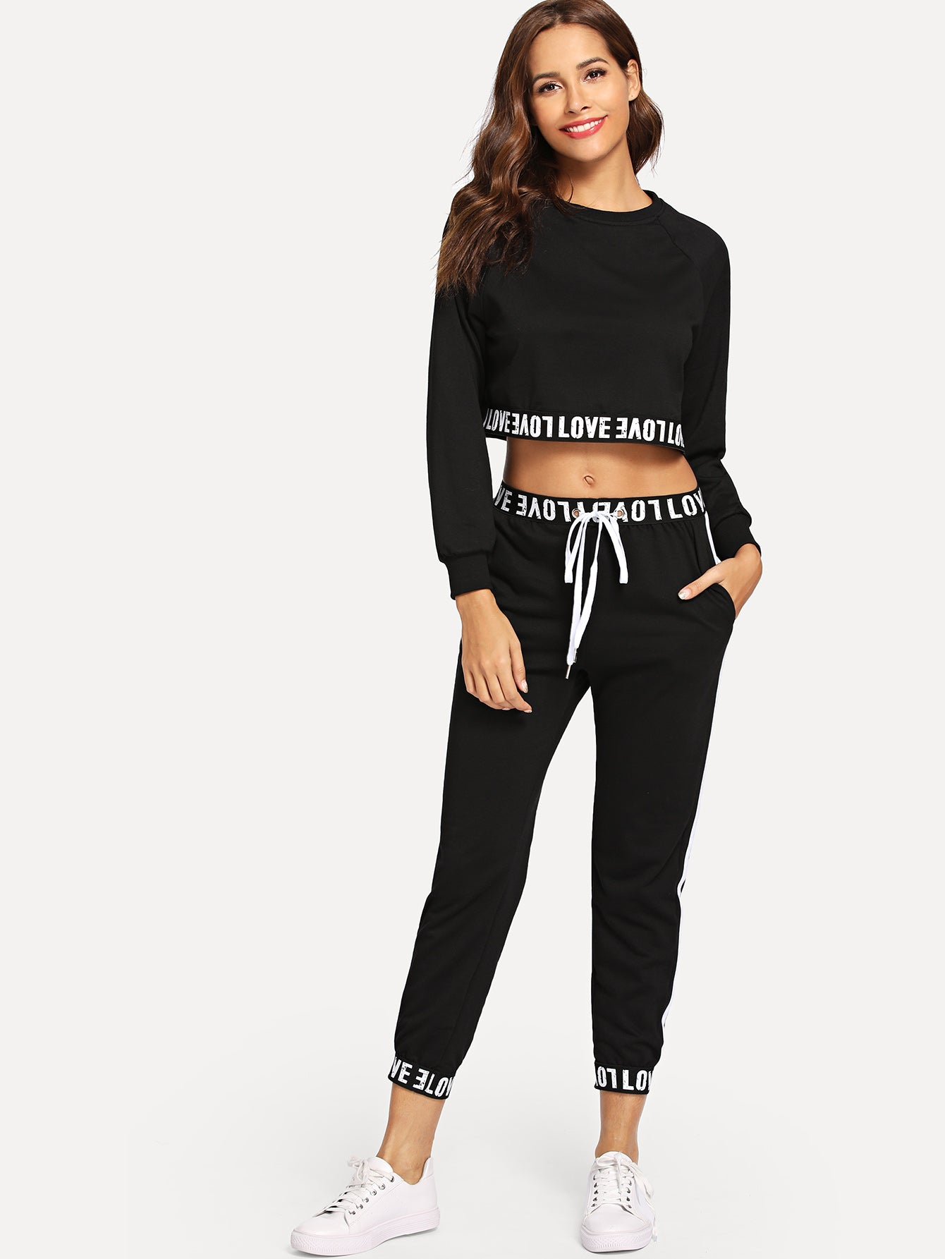 Letter Print Crop Top With Drawstring Pants-Sunshine's Boutique & Gifts