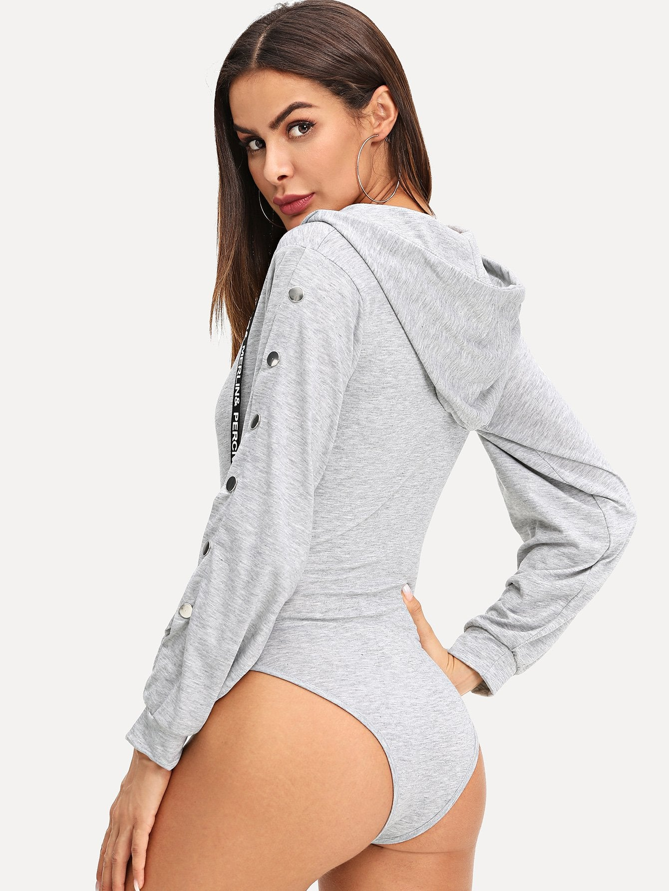 Drawstring Detail Hooded Bodysuit-Sunshine's Boutique & Gifts