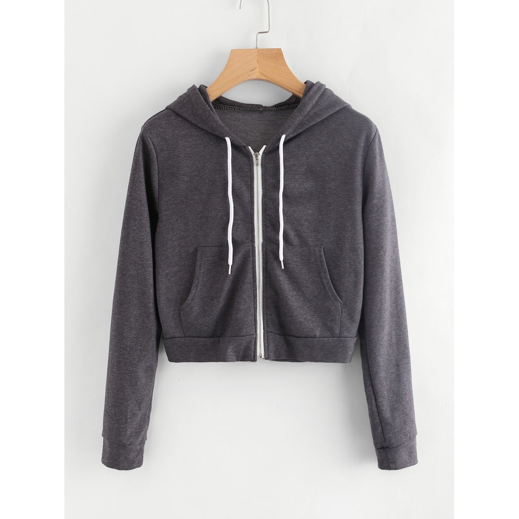 Pocket Front Heather Knit Crop Hoodie-Sunshine's Boutique & Gifts