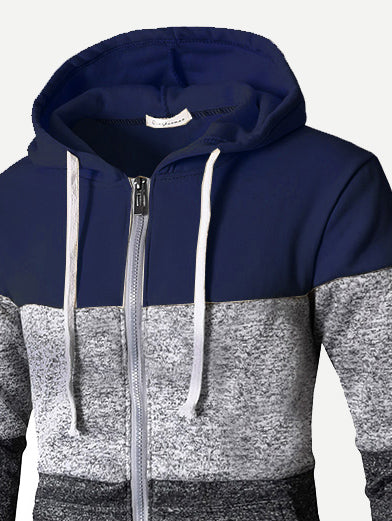 Men Cut And Sew Panel Hooded Sweatshirt-Sunshine's Boutique & Gifts