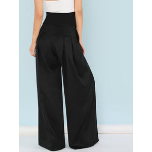 Self Belted Box Pleated Palazzo Pants-Sunshine's Boutique & Gifts