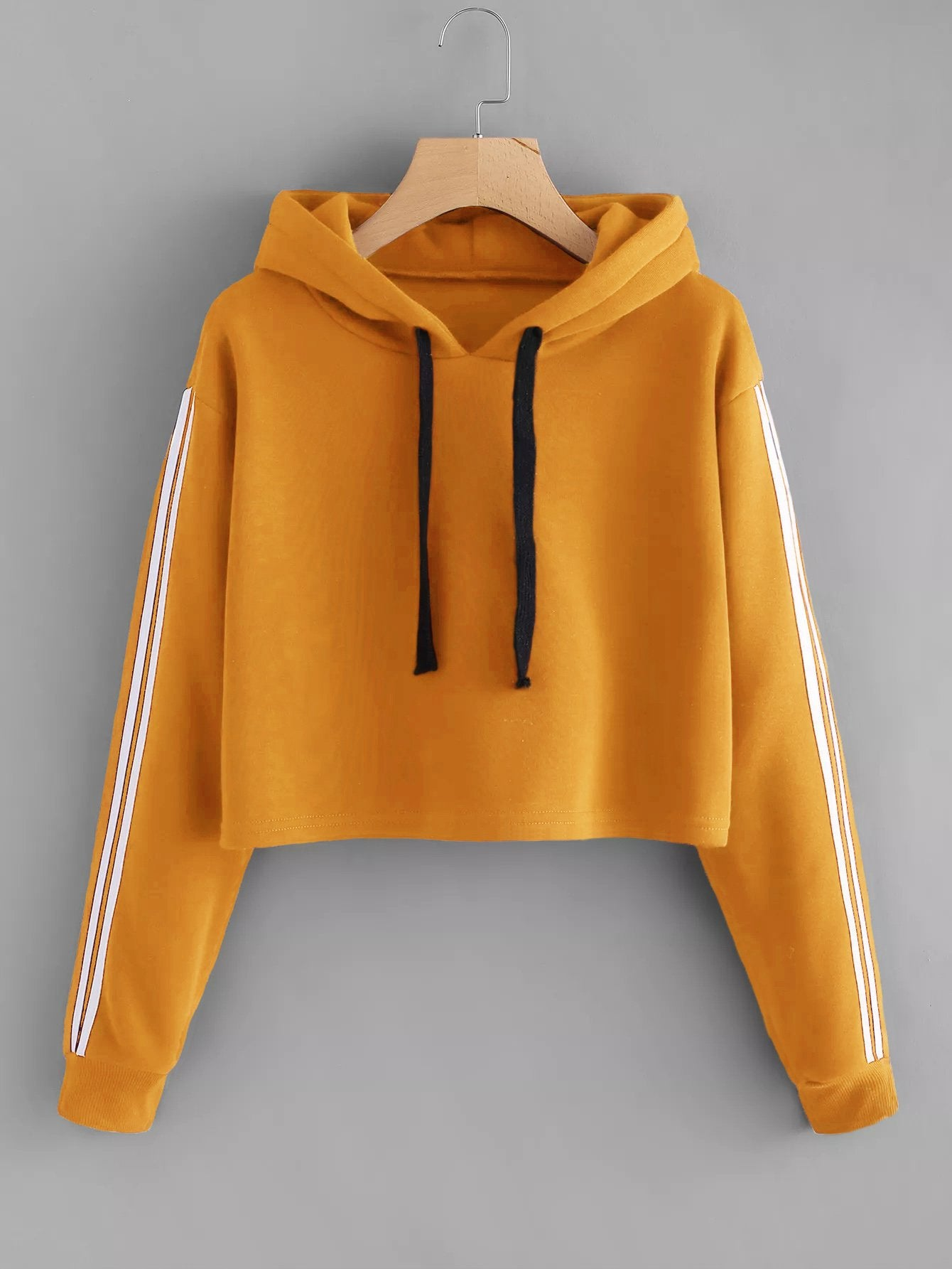Varsity Striped Sleeve Crop Hoodie-Sunshine's Boutique & Gifts