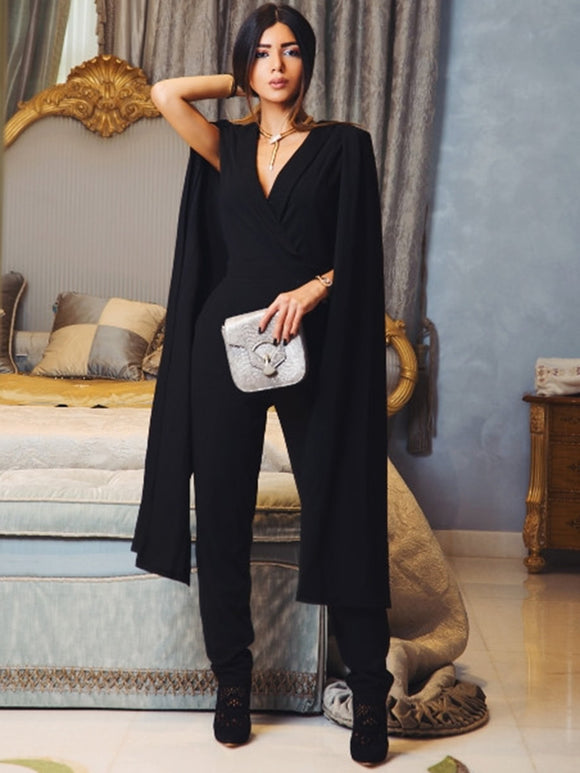 Cape Sleeve Surplice Wrap Tailored Jumpsuit-Sunshine's Boutique & Gifts