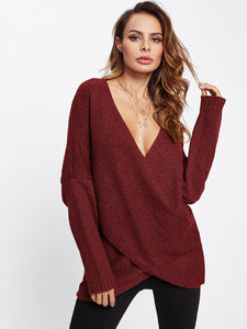 Drop Shoulder Crossover Sweater-Sunshine's Boutique & Gifts
