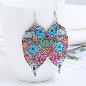 Large Trendy Flower Printed Boho Leather Earrings-Sunshine's Boutique & Gifts