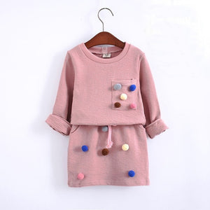 girls winter clothing set long sleeve shirt with ball pencil skirt-Sunshine's Boutique & Gifts
