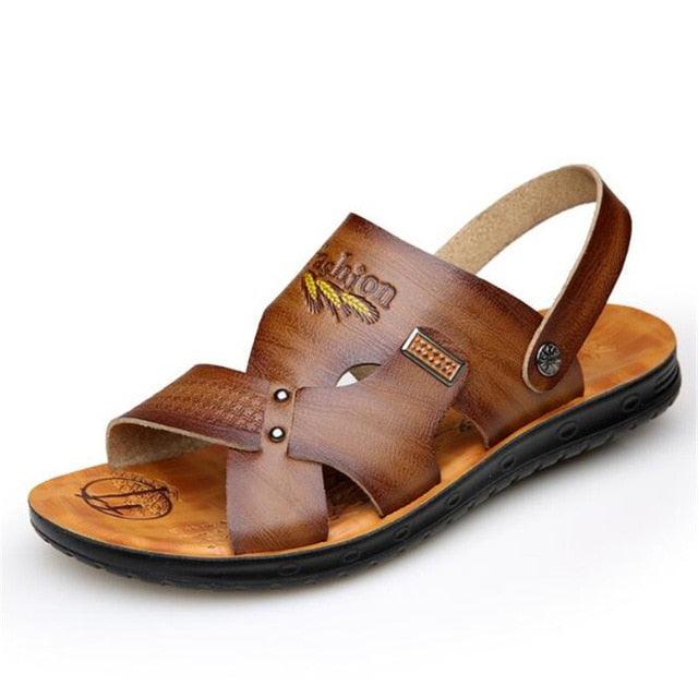 Men Cowhide leather sandals-Sunshine's Boutique & Gifts