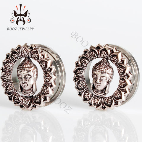 Silver Buddha stainless steel ear plug