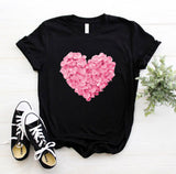 Pink heart flower Print t-shirt