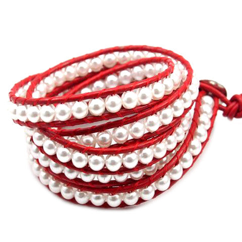 White Pearl on Red Leather-Sunshine's Boutique & Gifts