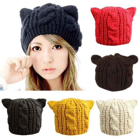 Cat Ears Beanie Crochet Knit Cap-Sunshine's Boutique & Gifts
