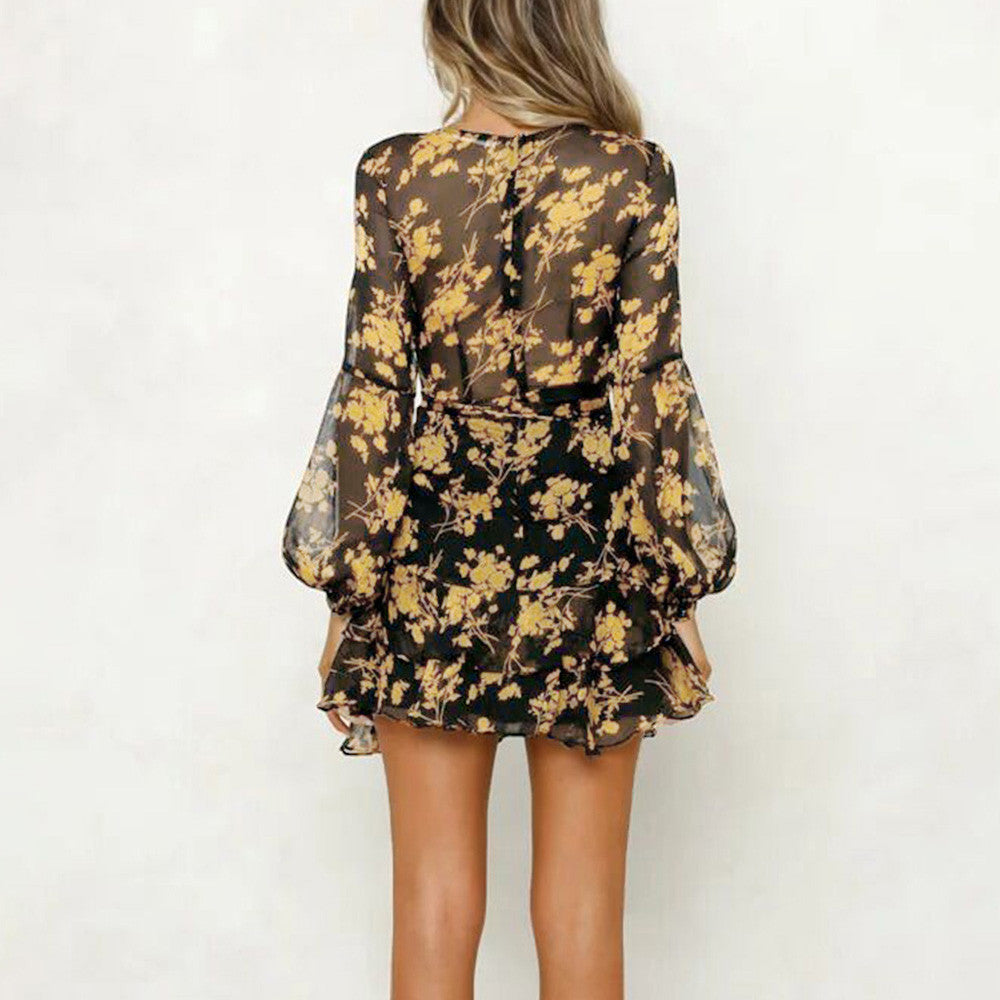 Womens Floral Leaf Printed Long Sleeve Dress Mini Dress-Women's Clothing-Sunshine's Boutique & Gifts