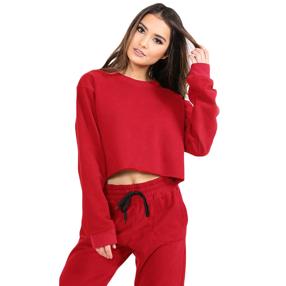 Women Yoga Crop Top O-Neck Long Sleeves Set-Sunshine's Boutique & Gifts