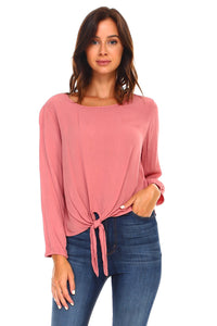 Women's Long Sleeve Tie Solid Top-Sunshine's Boutique & Gifts