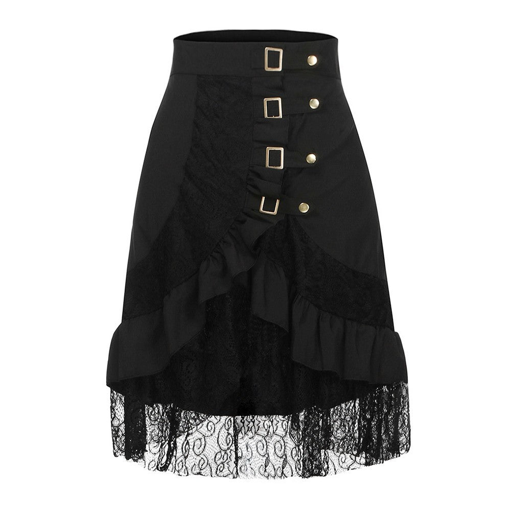 Women Steampunk Gothic Retro Black Lace Skirt-Sunshine's Boutique & Gifts