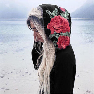 Women Casual Long Sleeve Hoodie Floral Sweatshirt-Sunshine's Boutique & Gifts