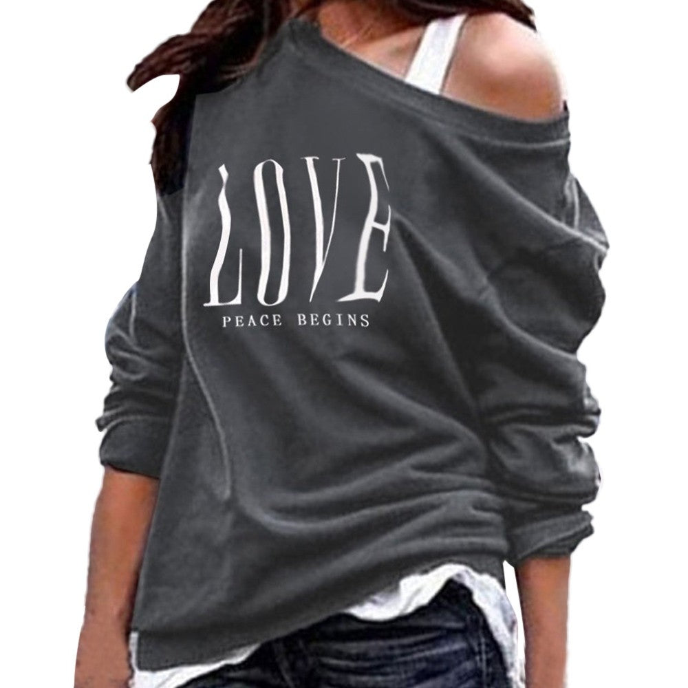 Womens Letter Print Long Sleeve Pullover Loose Fit Tops-Sunshine's Boutique & Gifts