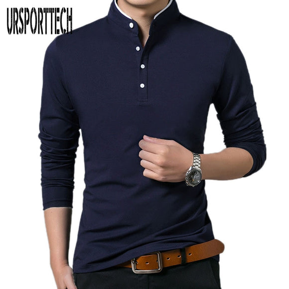 Men Long Sleeve Solid Polo Shirts