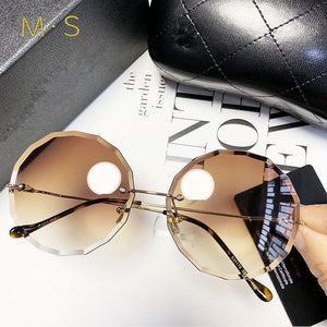 Women over-sized rimless sunglasses-Sunshine's Boutique & Gifts