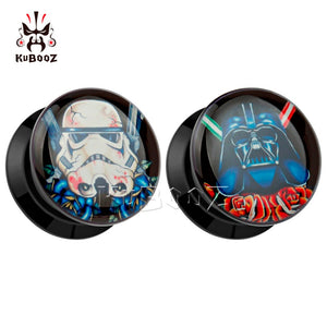 Star wars logo black acrylic plugs 6mm to 30mm-Sunshine's Boutique & Gifts